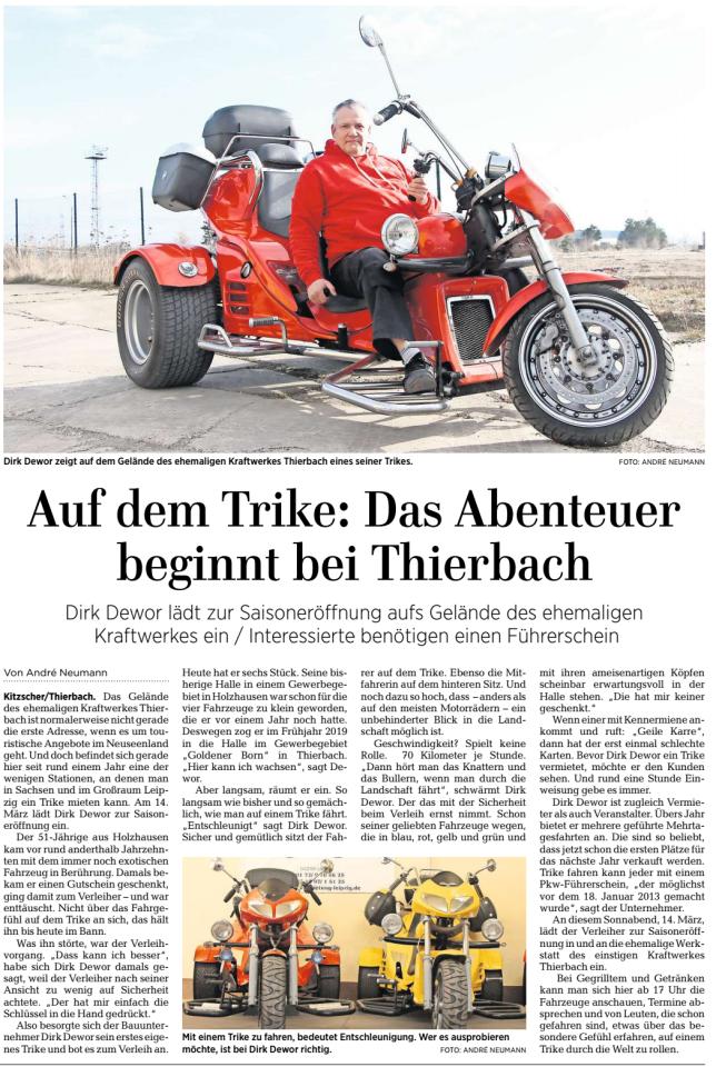 2020-03-13 Trikevermietung Dewor in der LVZ